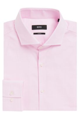 Houndstooth Cotton Dress Shirt, Slim Fit | Jason, light pink
