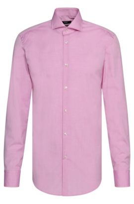Yarn-Dyed Italian Cotton Dress Shirt, Slim Fit | Jason  , light pink