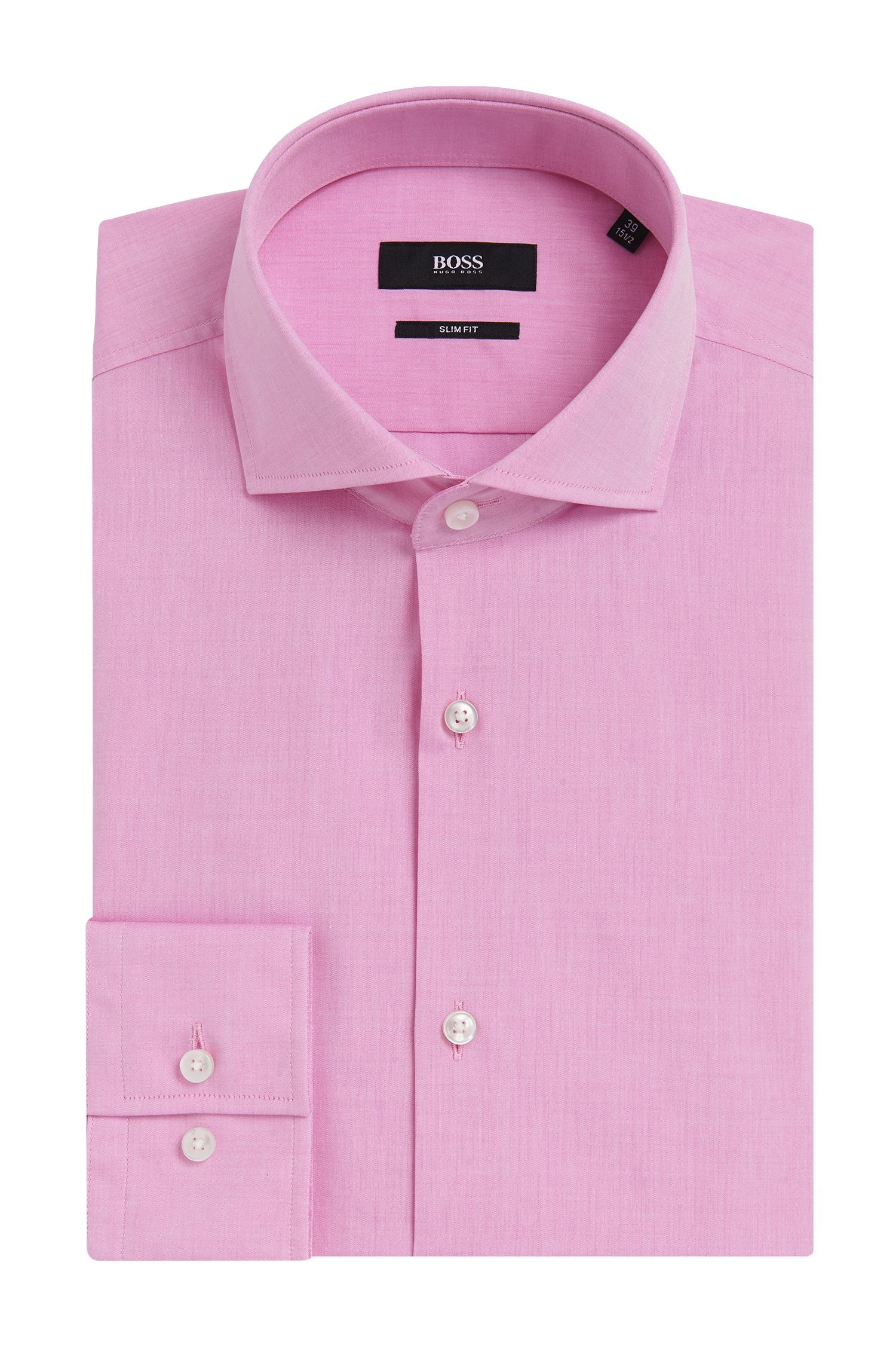 Yarn-Dyed Italian Cotton Dress Shirt, Slim Fit | Jason