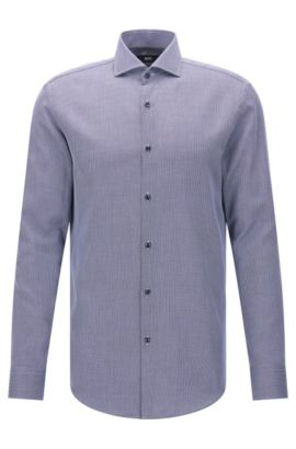 Dobby Cotton Patterned Dress Shirt, Slim Fit | Jason, Dark Blue