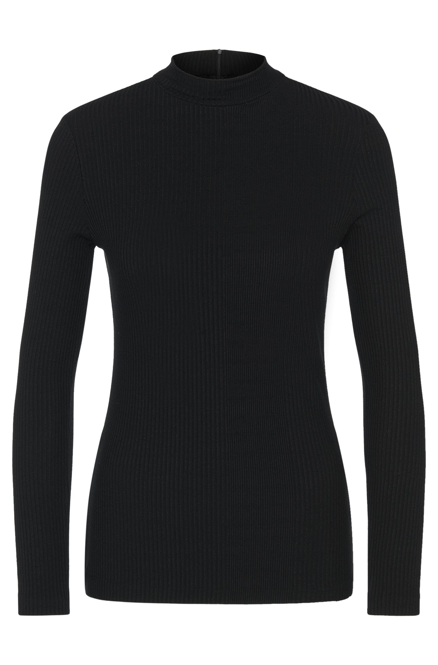 'Elaise' | Stretch Ribbed Mock Turtleneck