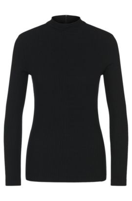 'Elaise' | Stretch Ribbed Mock Turtleneck, Black