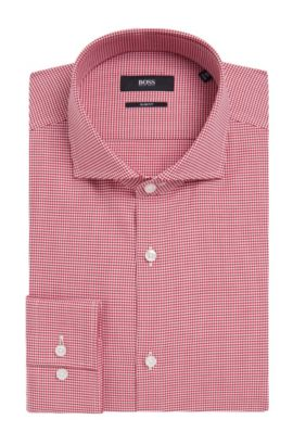 Houndstooth Cotton Dress Shirt, Slim Fit | Jason  , Red