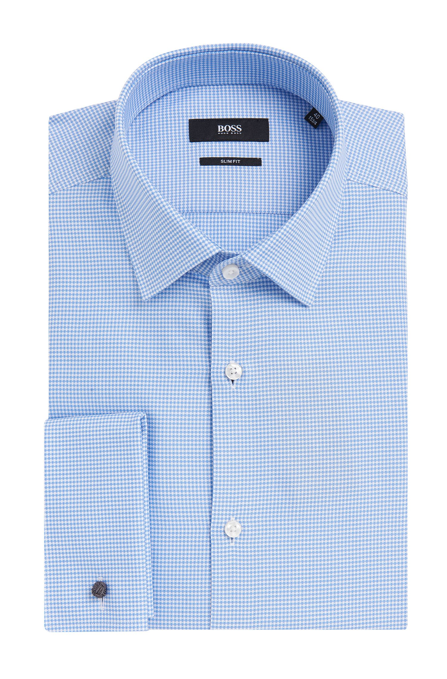 Houndstooth Italian Cotton French Cuff Dress Shirt, Slim Fit | Jacques