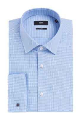 Houndstooth Italian Cotton French Cuff Dress Shirt, Slim Fit | Jacques, Light Blue