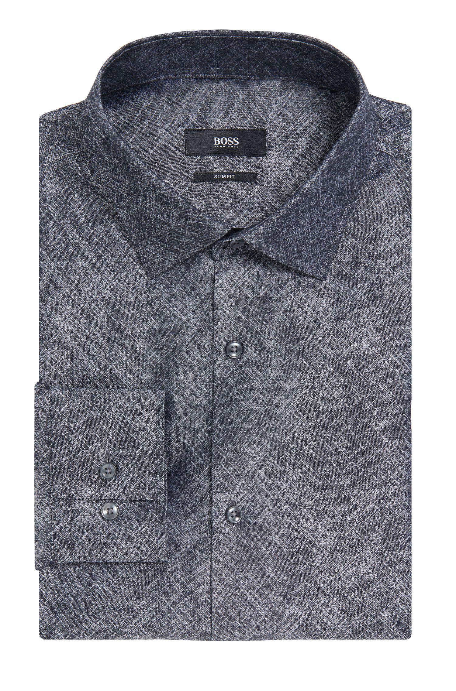 Crosshatch Italian Cotton Dress Shirt, Slim Fit | Jenno