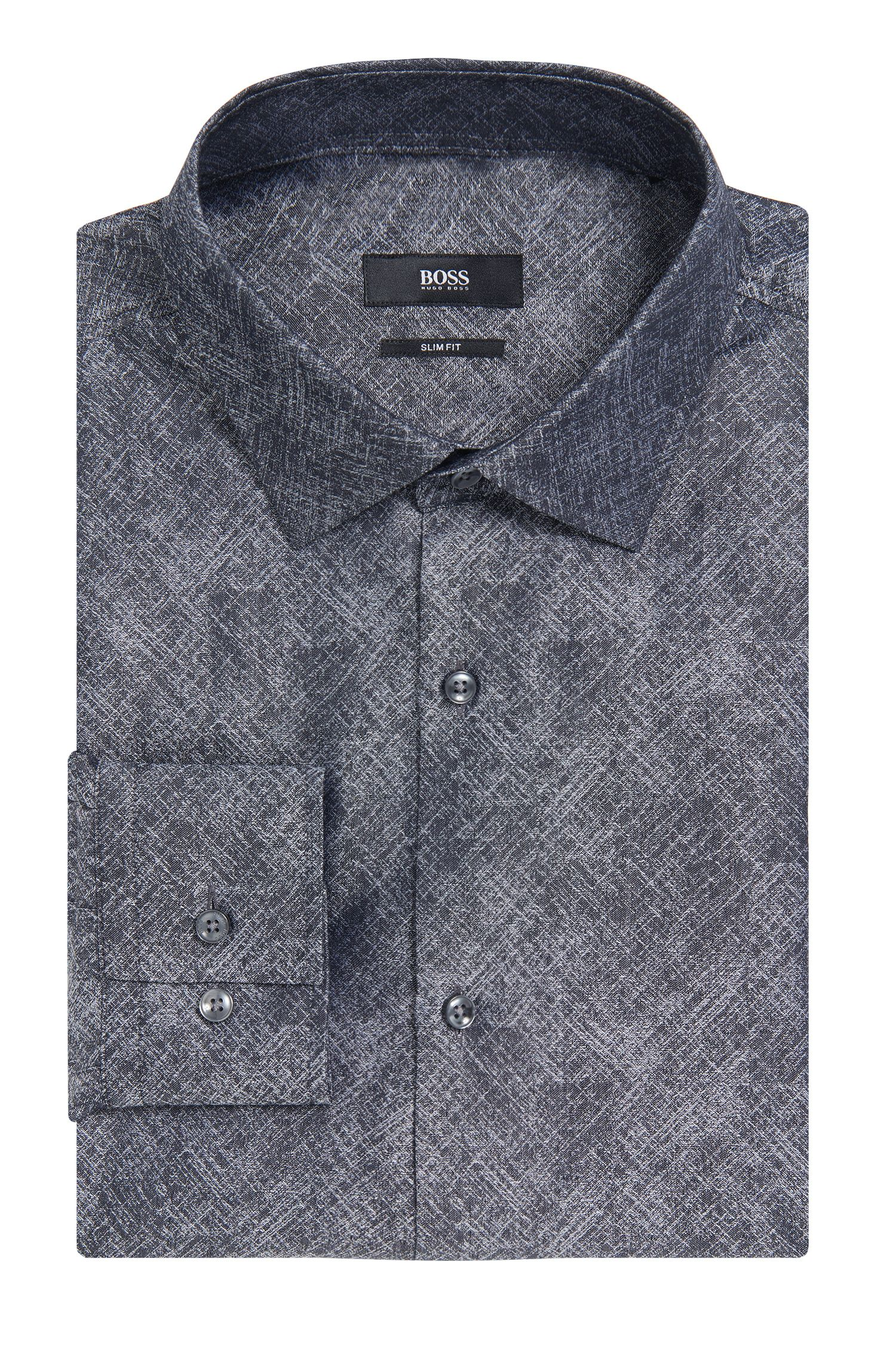 Crosshatch Italian Cotton Dress Shirt, Slim Fit | Jenno