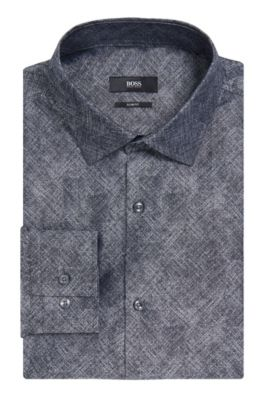 Crosshatch Italian Cotton Dress Shirt, Slim Fit | Jenno, Dark Grey