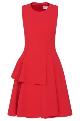 Crepe A-Line Tiered Skirt Dress | Desessy, Dark pink