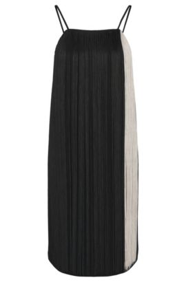 'Dafryna' | Full Fringe Shift Dress, Black