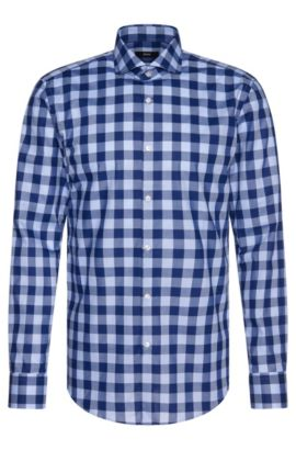 Buffalo Check Cotton Dress Shirt, Slim Fit | Jason, Dark Blue
