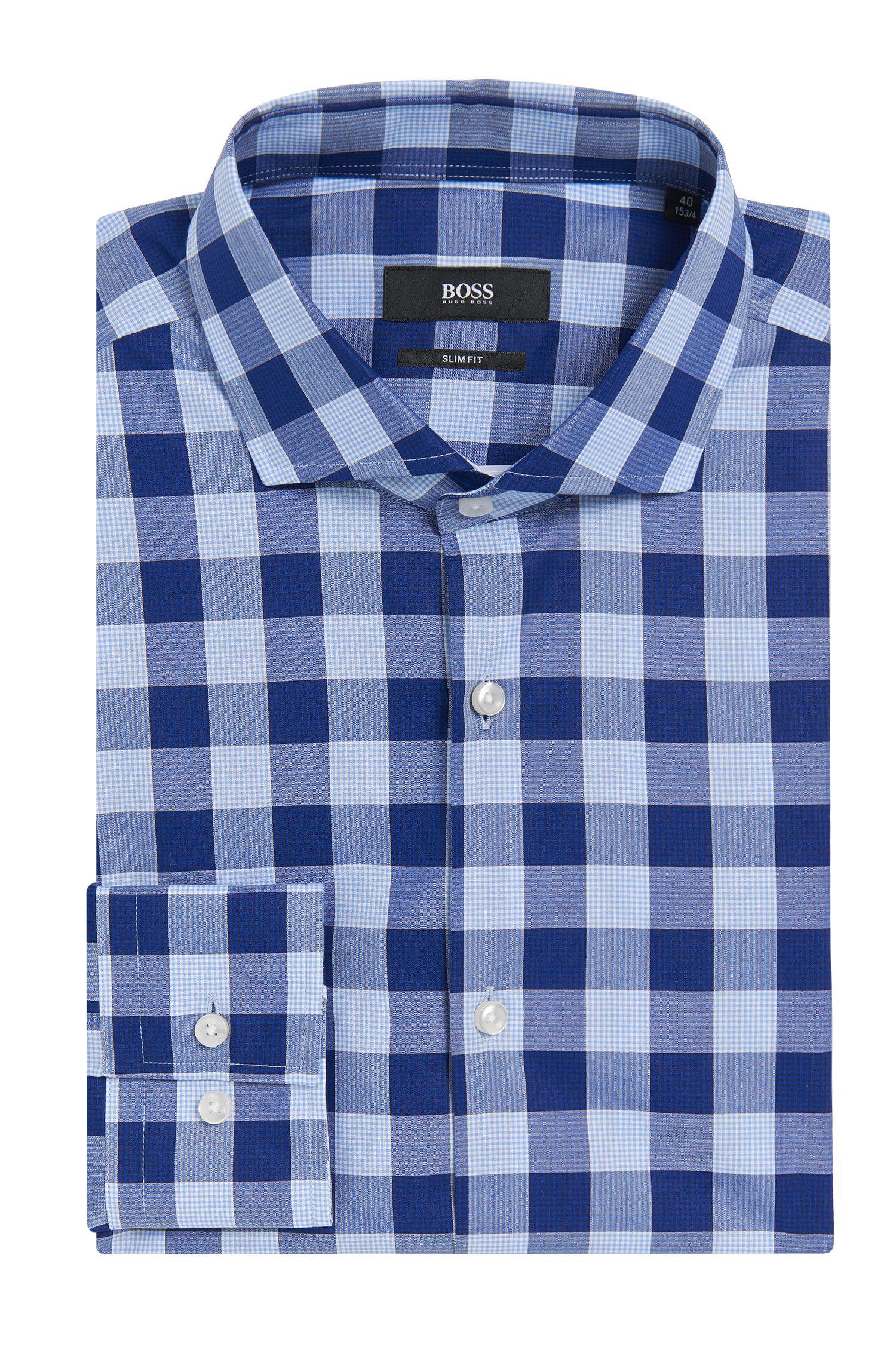Buffalo Check Cotton Dress Shirt, Slim Fit | Jason