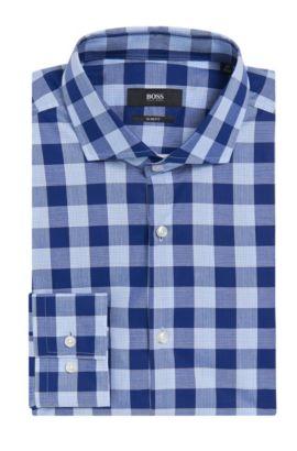 Buffalo Check Cotton Dress Shirt, Slim Fit | Jason, Dark Blue