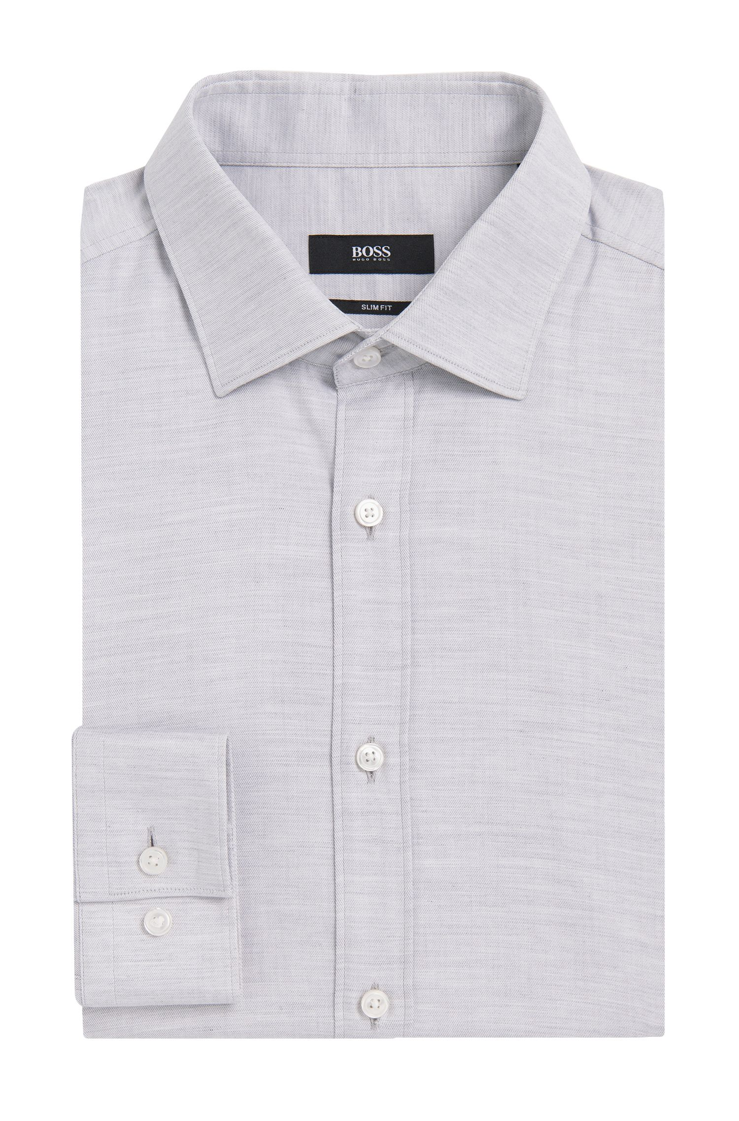 'Isaak' | Slim Fit, Italian Cotton Melange Dress Shirt