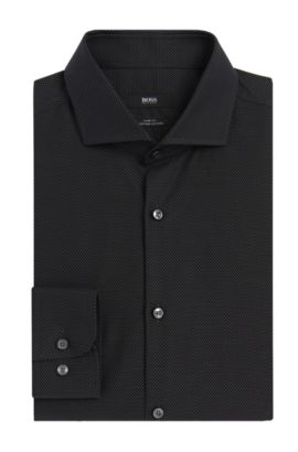 Nailhead Egyptian Cotton Dress Shirt, Slim Fit | Jerrin, Black