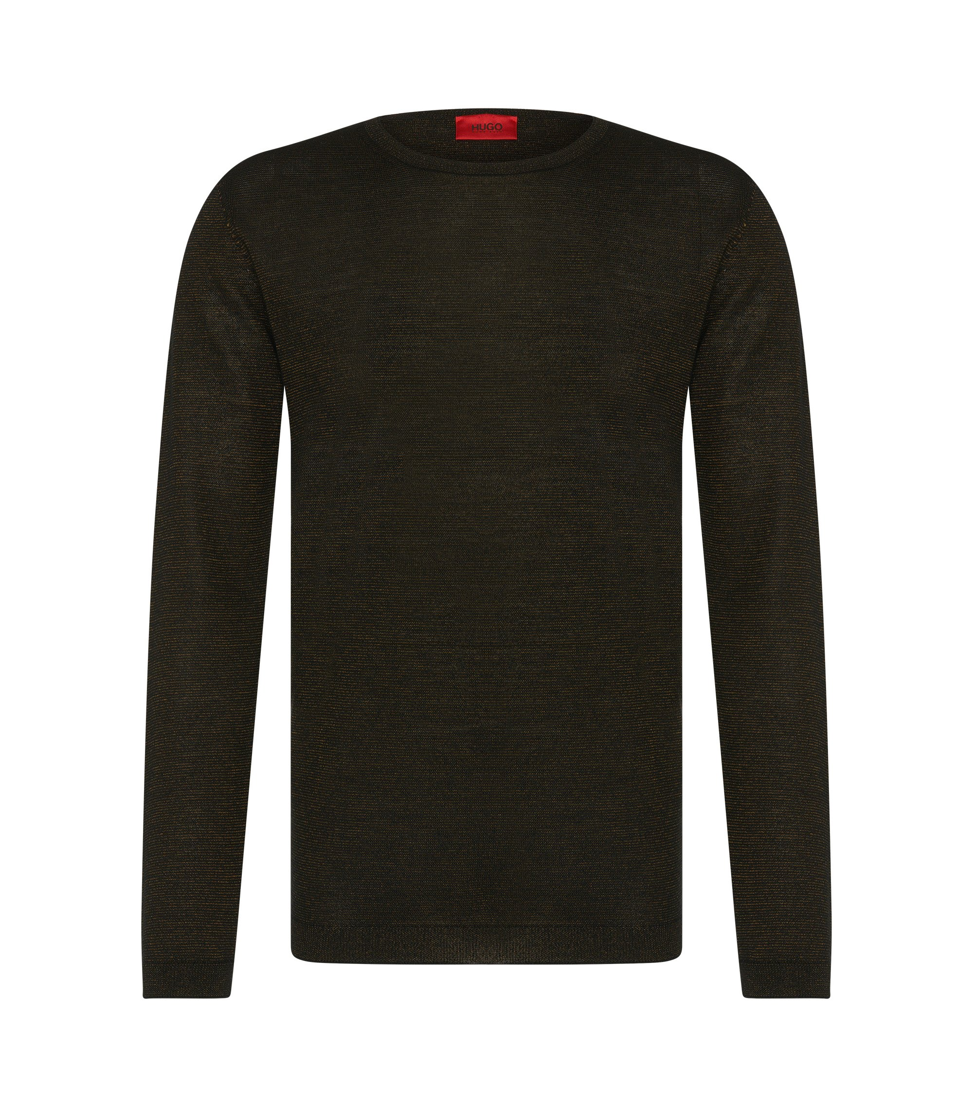 'Salex' | Merino Virgin Wool Blend Metallic Stripe Sweater, Brown