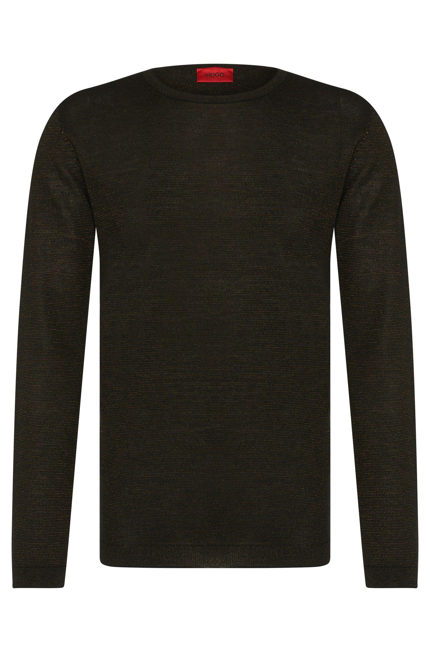 'Salex'   Merino Virgin Wool Blend Metallic Stripe Sweater