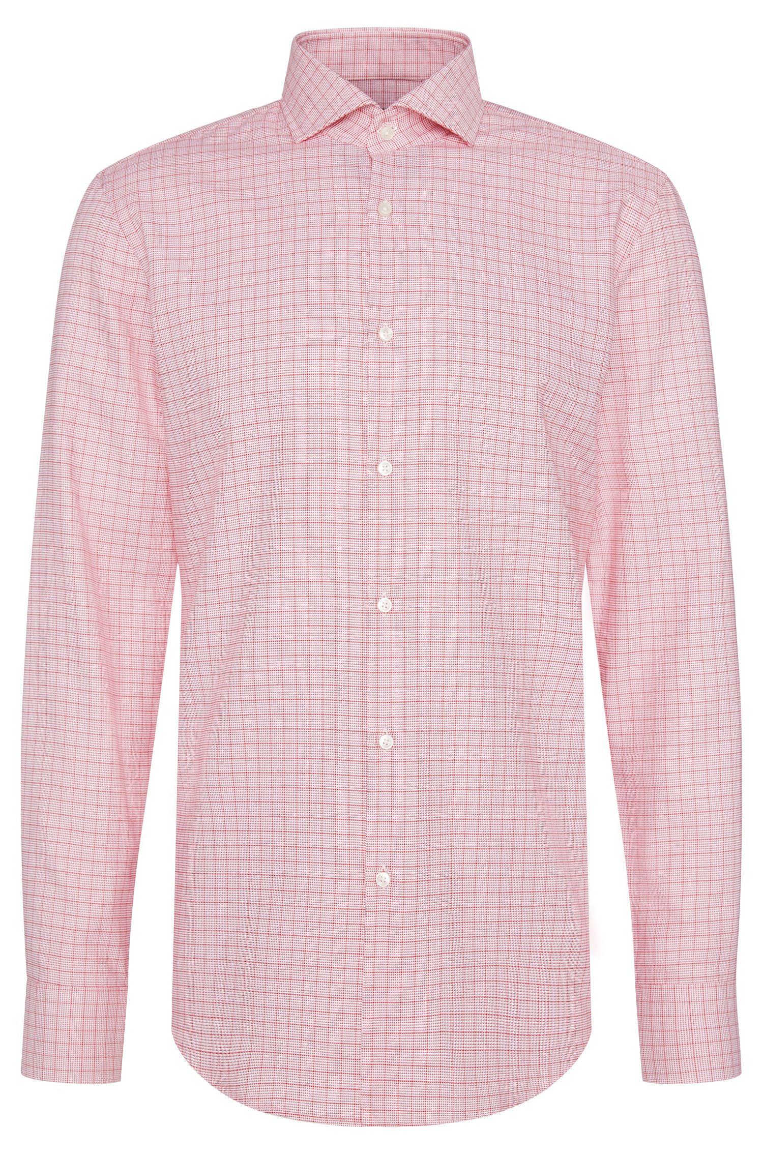 Checked Cotton Dress Shirt, Slim Fit   Jason