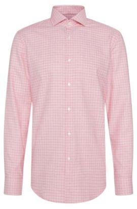 Checked Cotton Dress Shirt, Slim Fit | Jason, Red