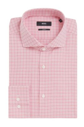 Checked Cotton Dress Shirt, Slim Fit | Jason  , Red