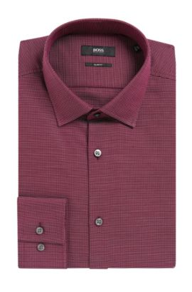 Nailhead Cotton Dress Shirt, Slim Fit | Jenno  , Dark Purple