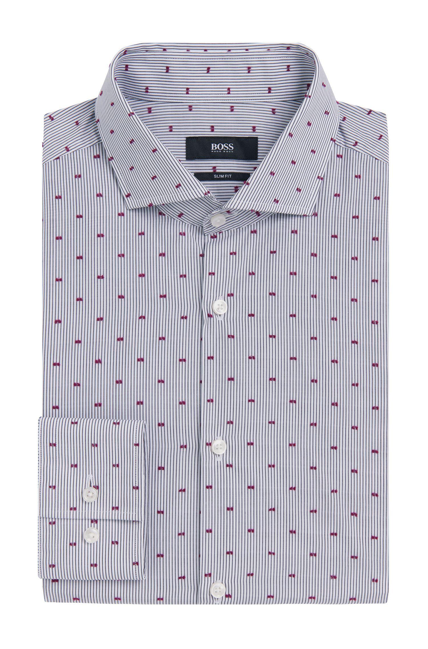 Striped Fil Coupe Cotton Dress Shirt, Slim Fit | Jason