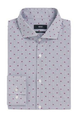 Striped Fil Coupe Cotton Dress Shirt, Slim Fit | Jason, Dark Grey