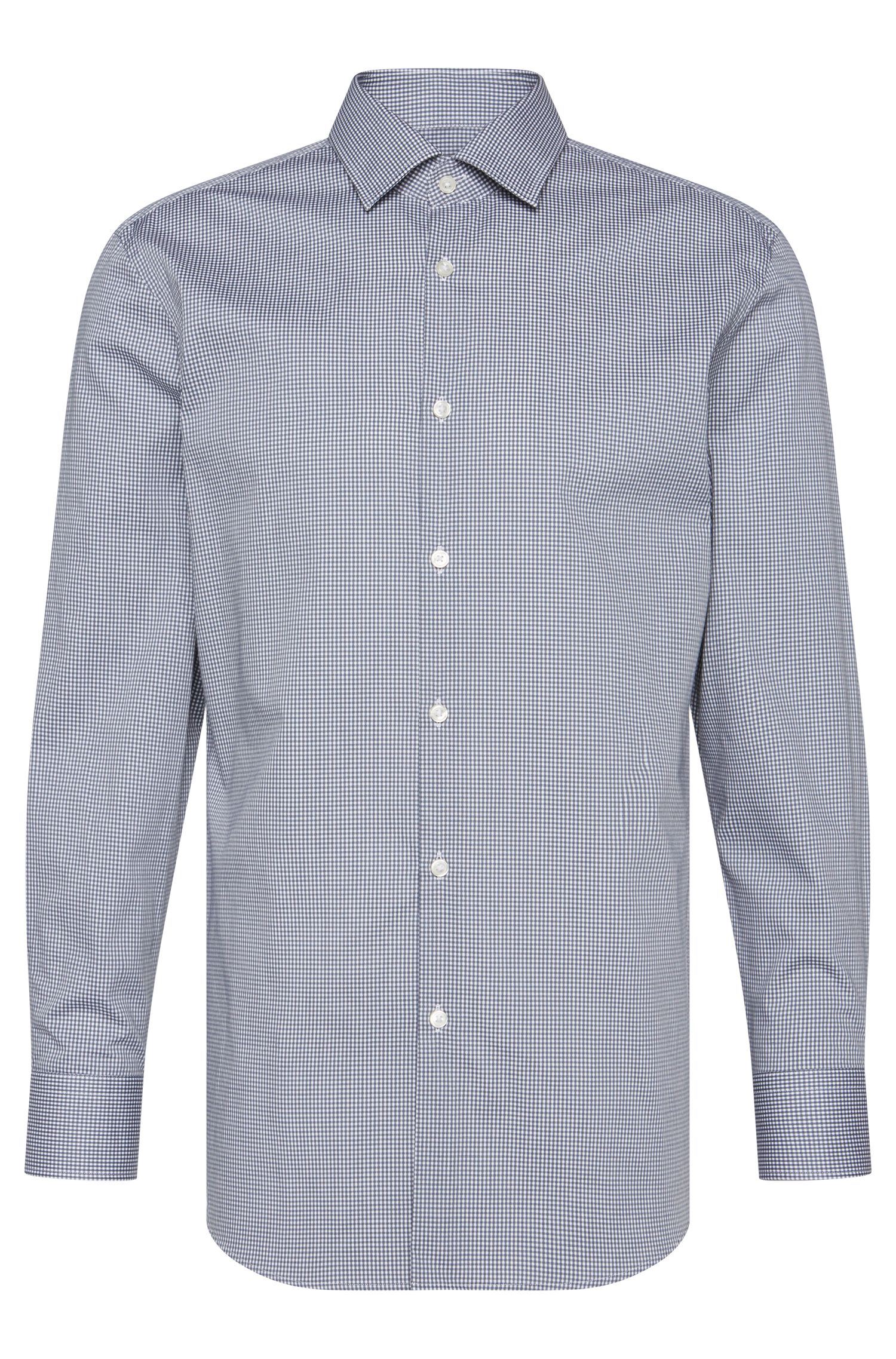 Gingham Cotton Dress Shirt, Sharp Fit | Marley US, Grey