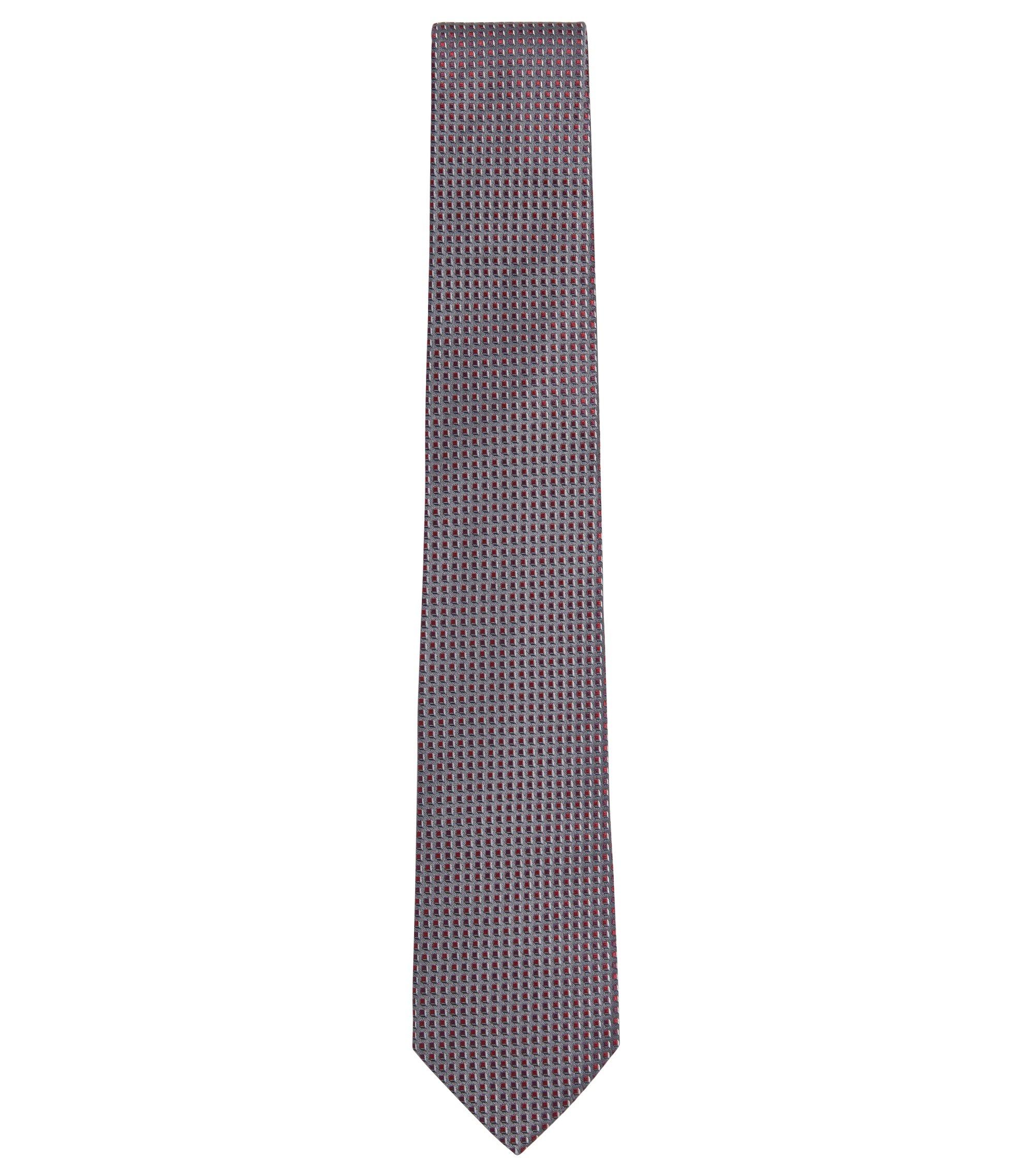 'T-Tie 7.5 cm' | Regular, Italian Silk Patterned Tie, Grey