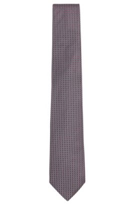 'T-Tie 7.5 cm' | Regular, Italian Silk Patterned Tie, Grey
