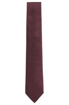 'T-Tie 7.5 cm' | Regular, Italian Silk Patterned Tie, Dark Purple
