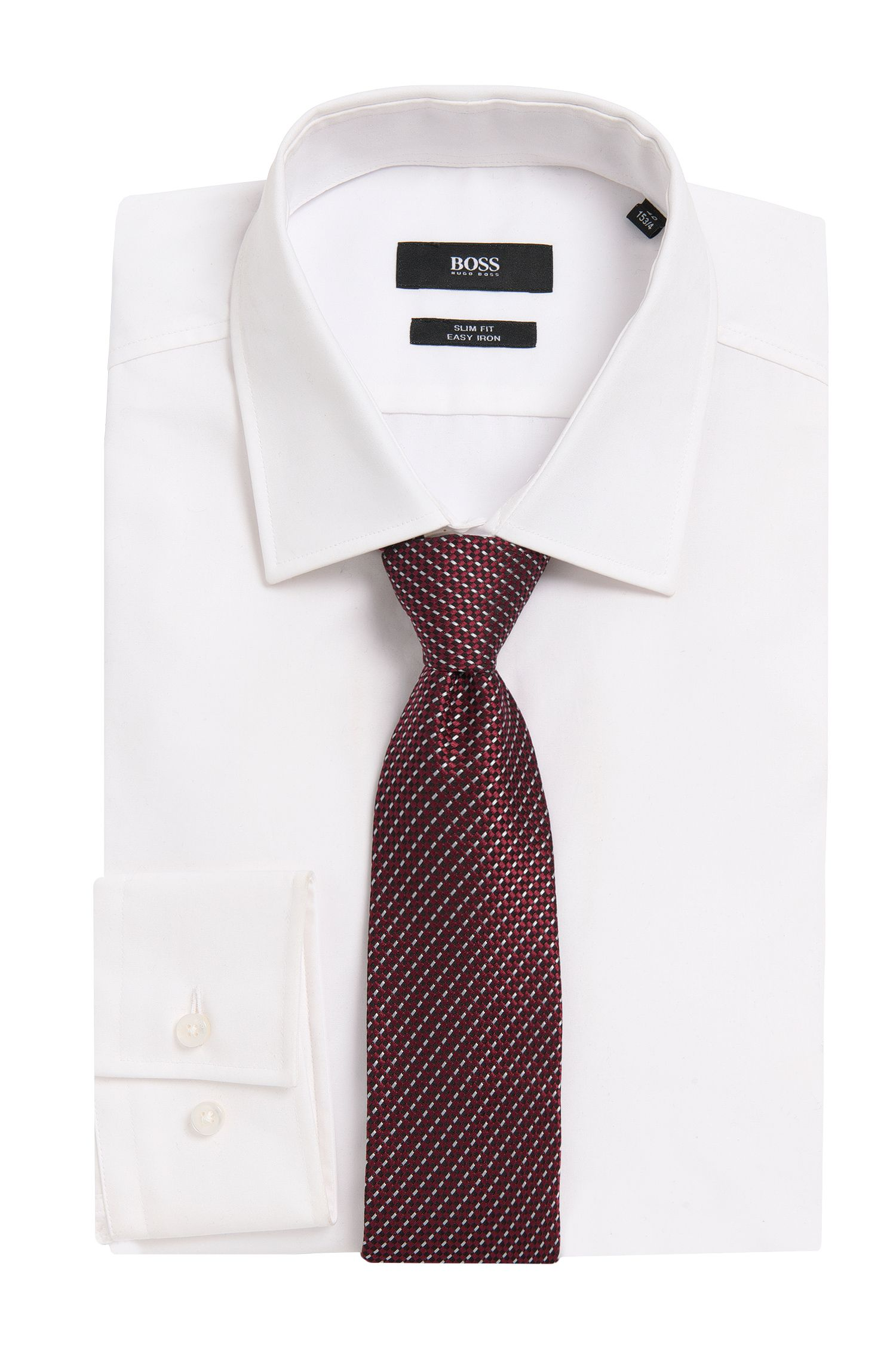 'T-Tie 7.5 cm'   Regular, Italian Silk Patterned Tie, Dark Purple