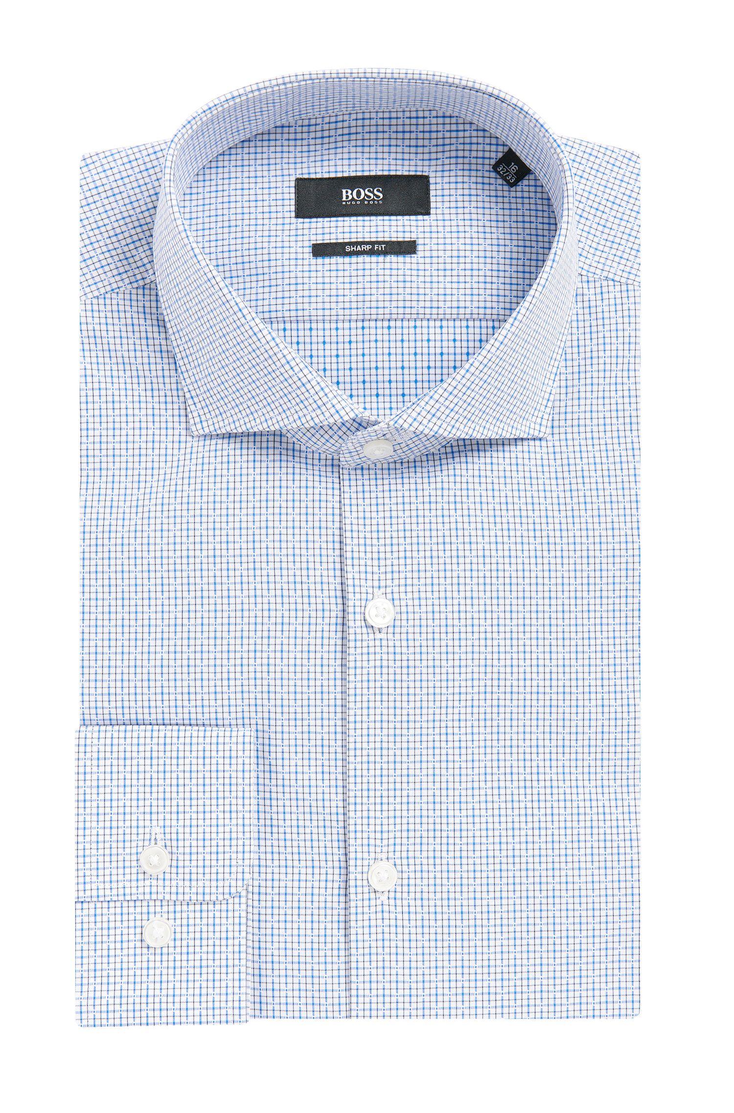 Checked Cotton Dress Shirt, Sharp Fit | Mark US