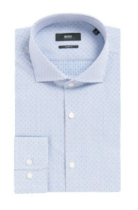 Checked Cotton Dress Shirt, Sharp Fit | Mark US, Blue