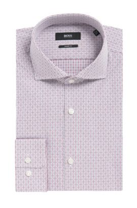 Checked Cotton Dress Shirt, Sharp Fit | Mark US, Dark Purple