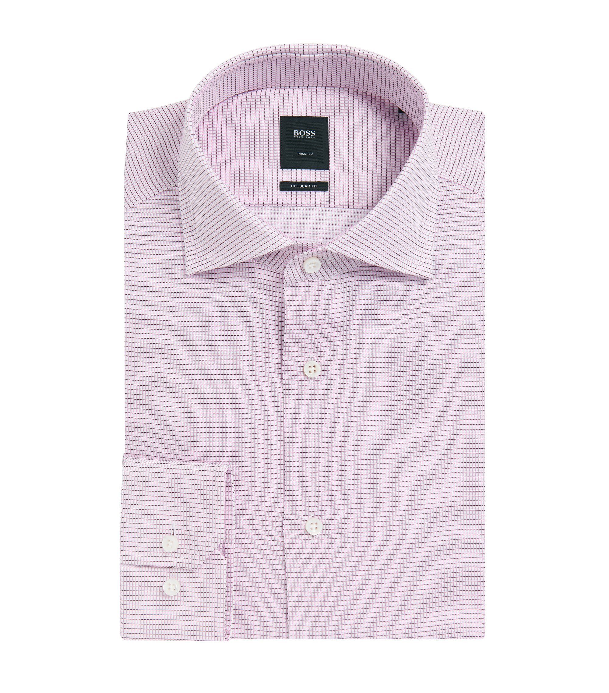 Basketweave Italian Cotton Dress Shirt, Slim Fit | T-Stenson, Dark Purple