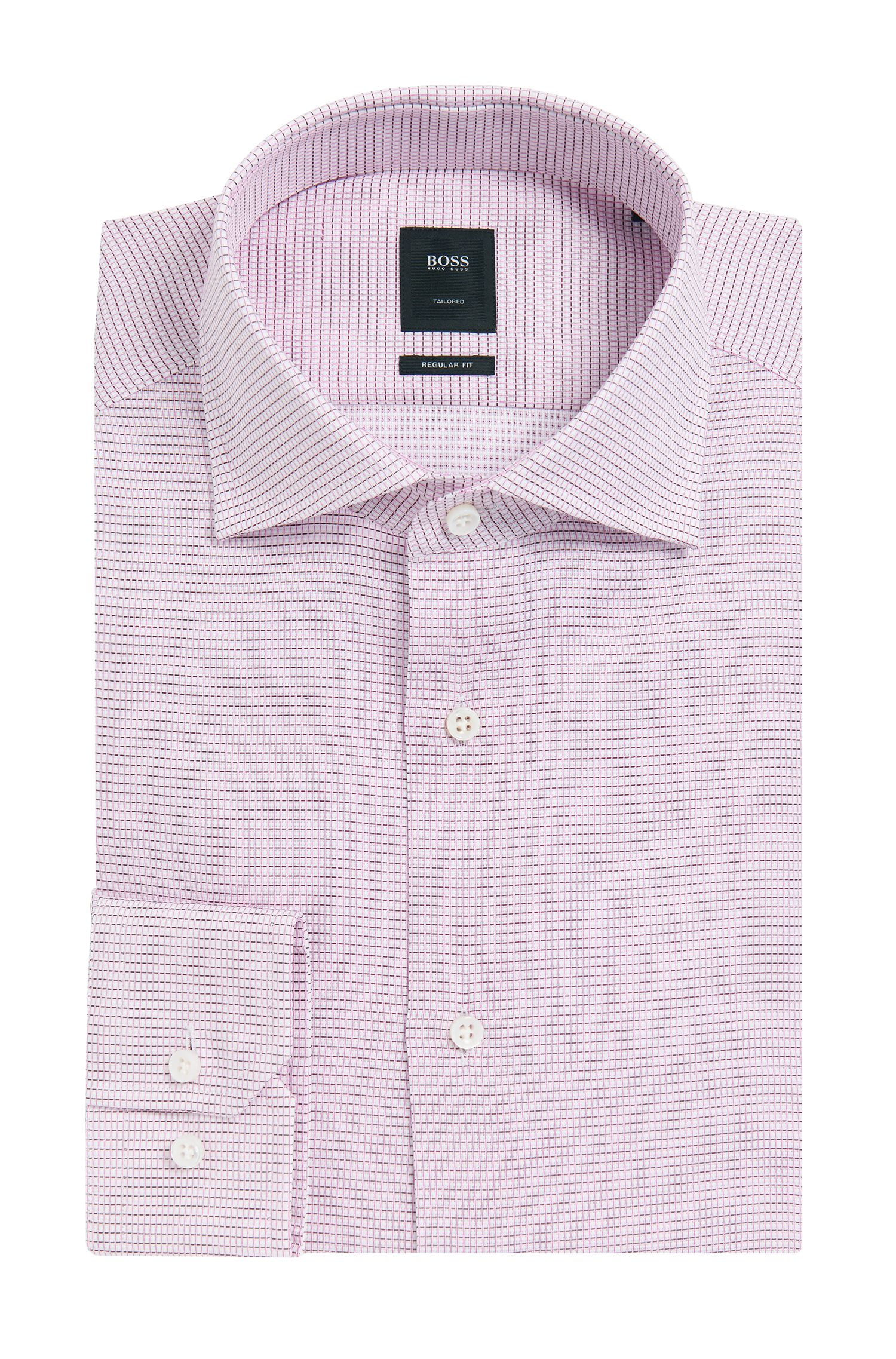 Basketweave Italian Cotton Dress Shirt, Slim Fit | T-Stenson