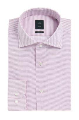 Basketweave Italian Cotton Dress Shirt, Slim Fit | T-Stenson, Dark Purple