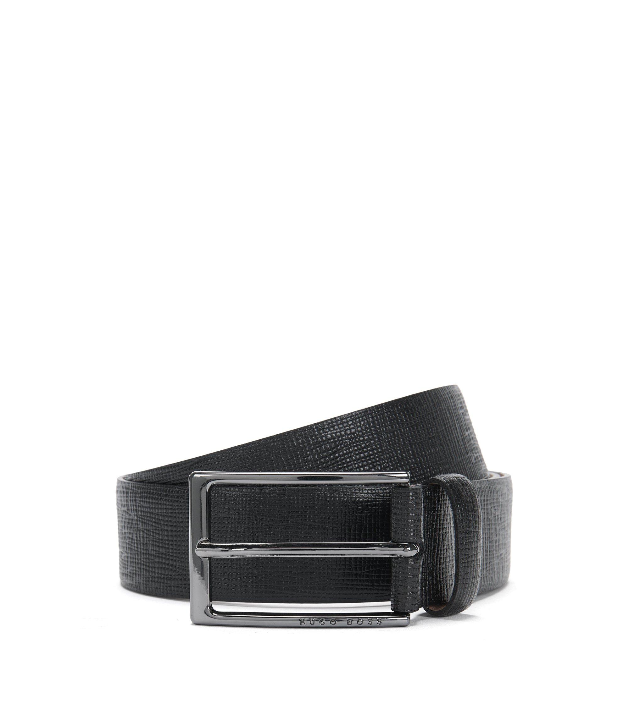 Leather Saffiano Embossed Belt | Naux-G_Sz35_ltem, Black