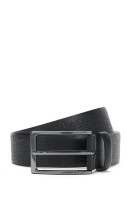 Leather Saffiano Embossed Belt | Naux-G_Sz35_ltem, Black