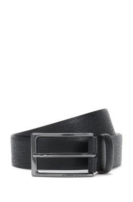 Leather Saffiano Embossed Belt   Naux-G_Sz35_ltem, Black