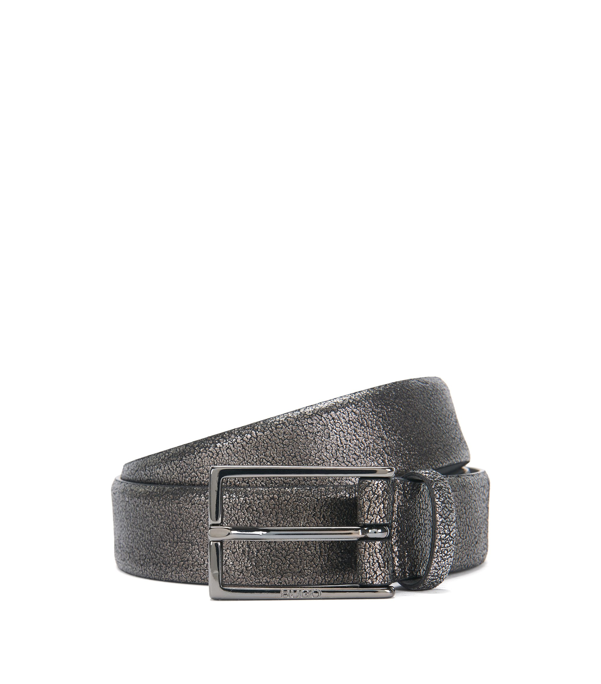 'Giantico Sz30 Item' | Italian Calfskin Metallic Leather Belt, Dark Grey