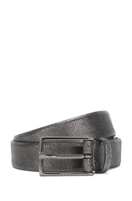 'Giantico Sz30 Item' | Italian Calfskin Metallic Leather Belt, Dark Grey