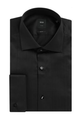 Egyptian Cotton French Cuff Dress Shirt, Slim Fit | T-Cameron, Black