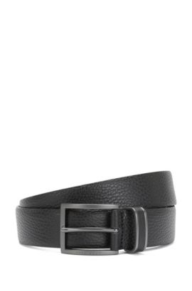 'Sopprin Sz Itgr' | Italian Grained Leather Belt, Black