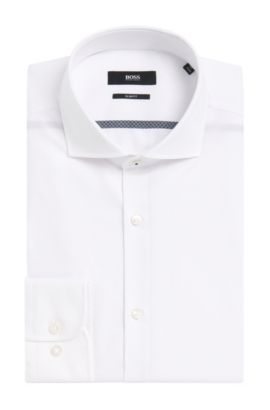 Easy-Iron Italian Cotton Dress Shirt, Slim Fit | Jerrin, Open White