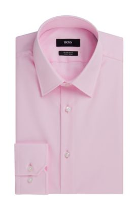 Regular Fit, Easy Iron Cotton Dress Shirt  | 'Enzo', light pink