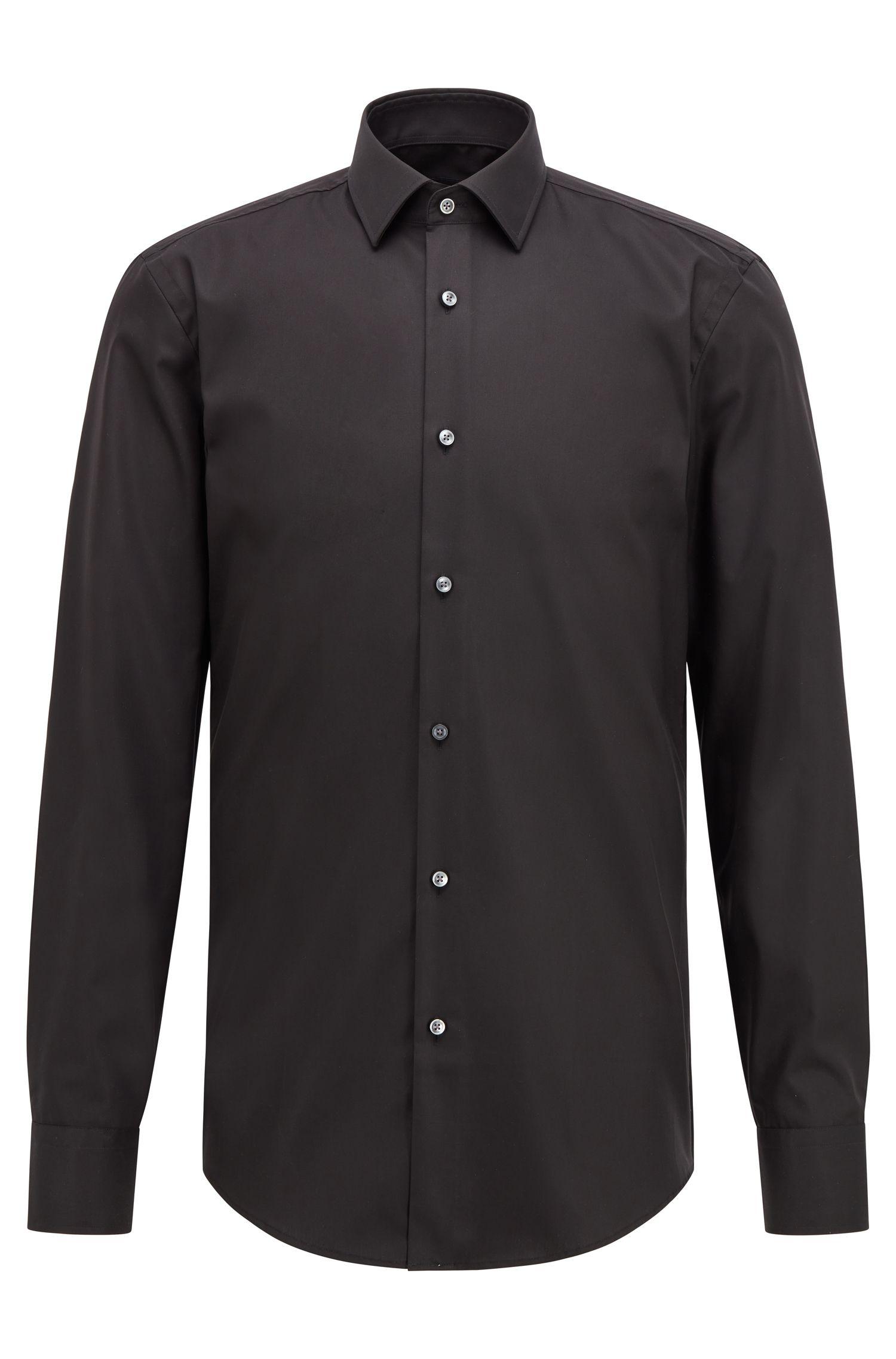 Slim-fit business shirt in cotton poplin, Black