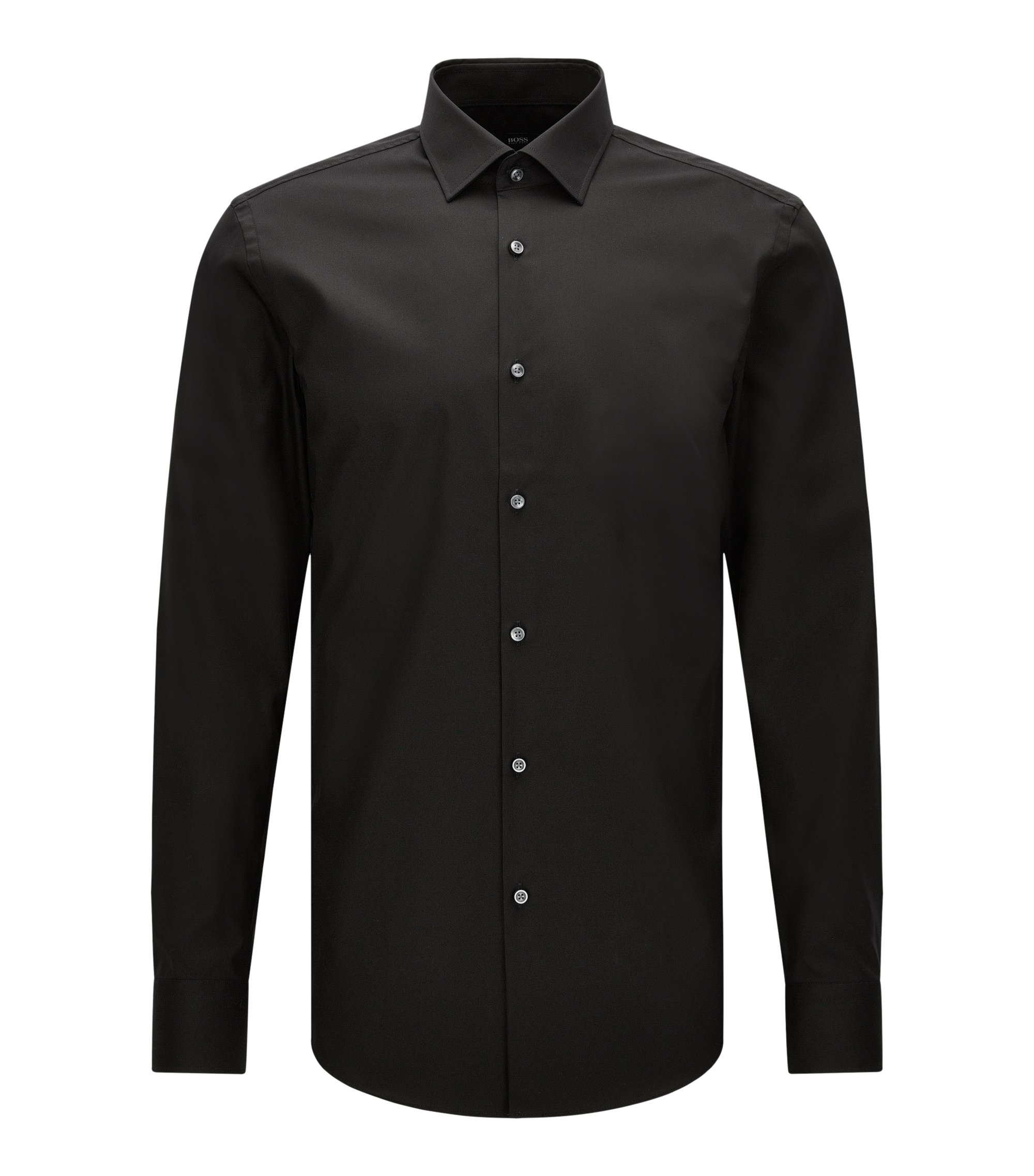 Easy-Iron Italian Cotton Dress Shirt, Slim Fit | Jenno , Black
