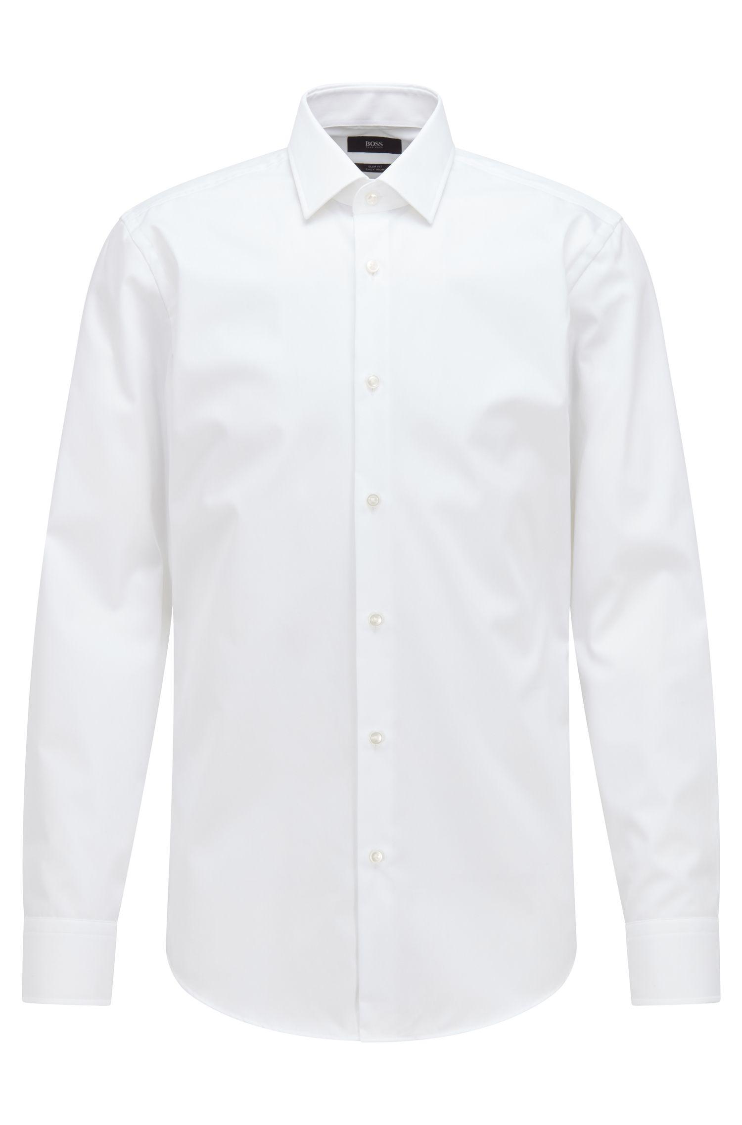 Easy-Iron Italian Cotton Dress Shirt, Slim Fit | Jenno, White